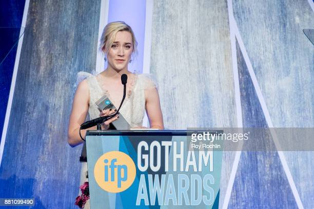 Saoirse Ronan speaks onstage during IFP's 27th Annual Gotham Independent Film Awards at Cipriani Wall Street on November 27 2017 in New York City