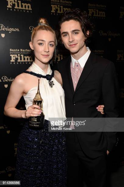 Saoirse Ronan visits the Dom Perignon Lounge after receiving the Santa Barbara Award from Timothee Chalamet at The Santa Barbara International Film...