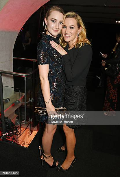 Saoirse Ronan winner of the Best Actress award for Brooklyn and Kate Winslet winner of the Variety Award pose at the Moet British Independent Film...