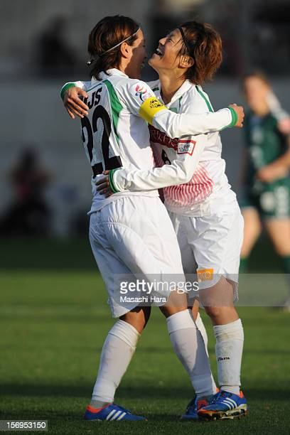 Saori Ariyoshi and Azusa Iwashimizu of NTV Beleza celebrate after the International Women's Club Championship 3rd Place Match between NTV Beleza and...