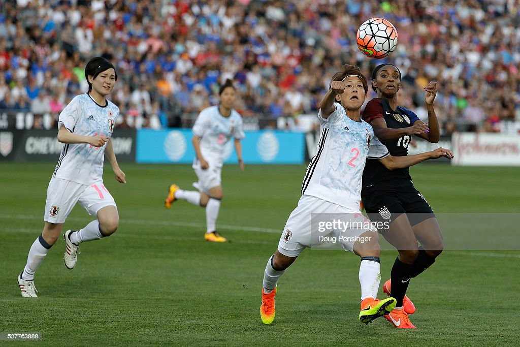 Saori Ariyoshi #2 of Japan and Crystal Dunn #16 of United States of America vie for control of the ball during an international friendly match at Dick's Sporting Goods Park on June 2, 2016 in Commerce City, Colorado. Japan and the United States played to a 3-3 draw.