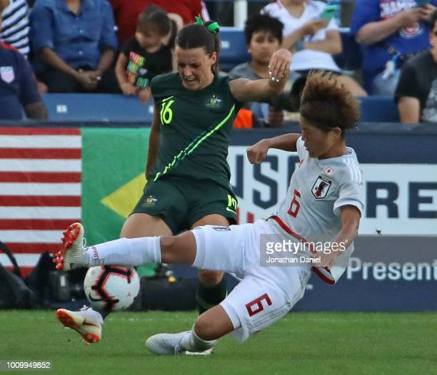 Saori Ariyoshi of Japan blocks a pass by Hayley Raso of Australia during the 2018 Tournament Of Nations at Toyota Park on August 2 2018 in Bridgeview...