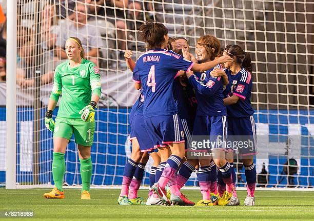 Saori Ariyoshi of Japan celebrates with Saki Kumagai Nahomi Kawasumi and Mizuho Sakaguchi after scoring against the Netherlands during the FIFA...