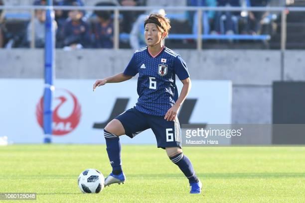 Saori Ariyoshi of Japan in action during the international friendly match between Japan and Norway at Torigin Bird Stadium on November 11 2018 in...