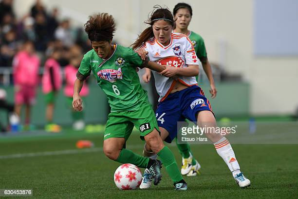 Saori Ariyoshi#6 of Nippon TV Beleza and Aya Saeki of Albirex Niigata Ladies compete for tha ball during the 38th Empress's Cup Semi Final between...