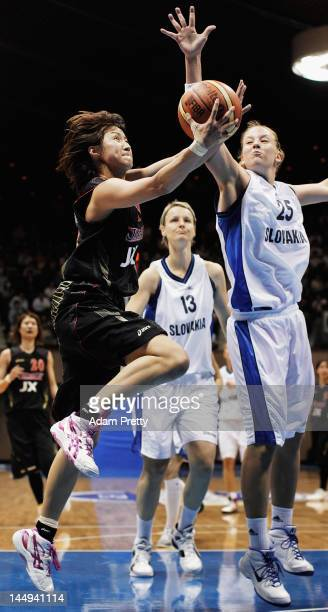 Saori Fujiyoshi of Japan goes for a layup during the women's basketball friendly match between Japan and Slovakia at Yoyogi Gymnasium on May 21 2012...