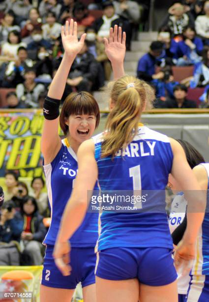 Saori Kimura and Carly Wopat of Toray Arrows celebrate their victory after the VPremier League Women's Final 6 between Toyota Auto Body Queenseis and...