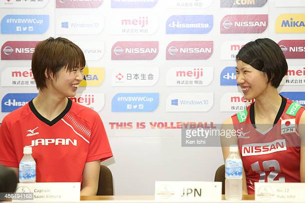 Saori Kimura and Yuki Ishii of Japan attend the press conference after defeating the match between Japan and Algeria during the FIVB Women's...