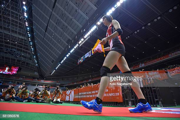 Saori Kimura of enters the court prior to the Women's World Olympic Qualification game between Japan and Peru at Tokyo Metropolitan Gymnasium on May...