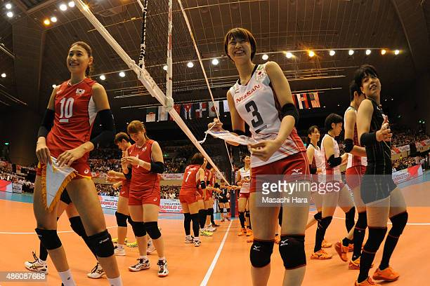 Saori Kimura of japan and Kim Yeonkoung of Korea Republic look on prior to the match between Japan and South Korea during the FIVB Women's Volleyball...
