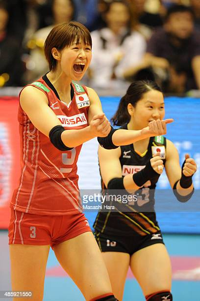 Saori Kimura of Japan celebrates a point in the match between Japan and Peru during the FIVB Women's Volleyball World Cup Japan 2015 at Sendai City...