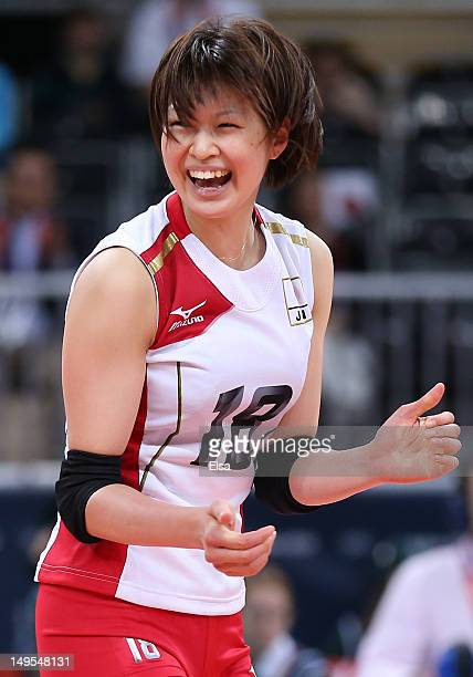 Saori Kimura of Japan celebrates winning a point in the Women's Volleyball Preliminary match between Italy and Japan on Day 3 of the London 2012...