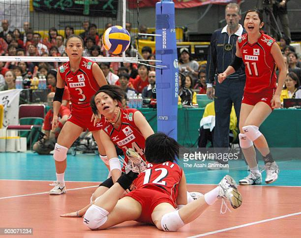 Saori Kimura of Japan dives for the ball during the FIVB Volleyball Women's World Championship 5th place match between China and Japan at the Osaka...