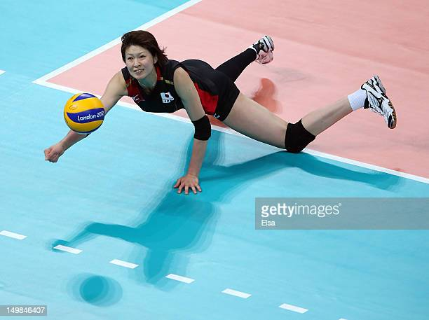 Saori Kimura of Japan dives for the ball in the first set against Great Britain during Women's Volleyball on Day 9 of the London 2012 Olympic Games...
