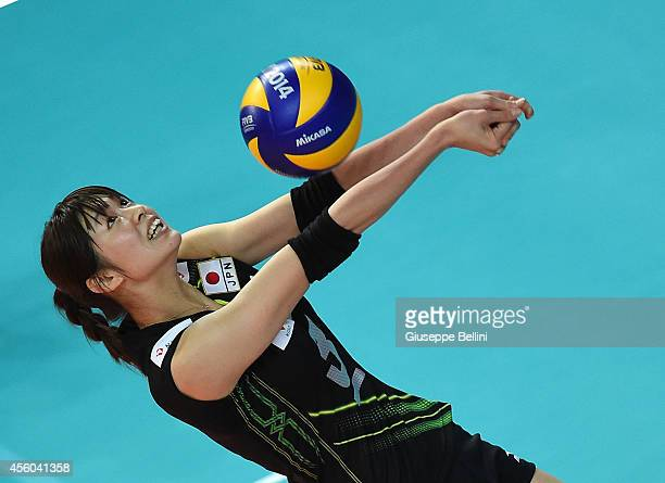 Saori Kimura of Japan in action during the FIVB Women's World Championship pool D match between Belgium and Japan on September 24 2014 in Bari Italy