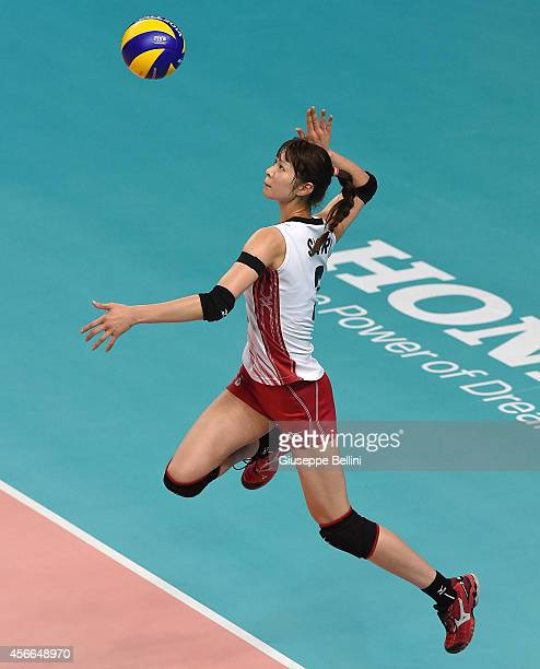 Saori Kimura of Japan in action during the FIVB Women's World Championship pool E match between Italy and Japan on October 4 2014 in Bari Italy