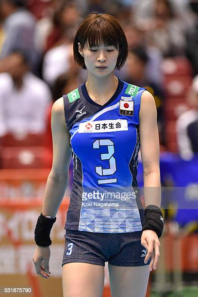 Saori Kimura of Japan looks dejected after losing the Women's World Olympic Qualification game between South Korea and Japan at Tokyo Metropolitan...