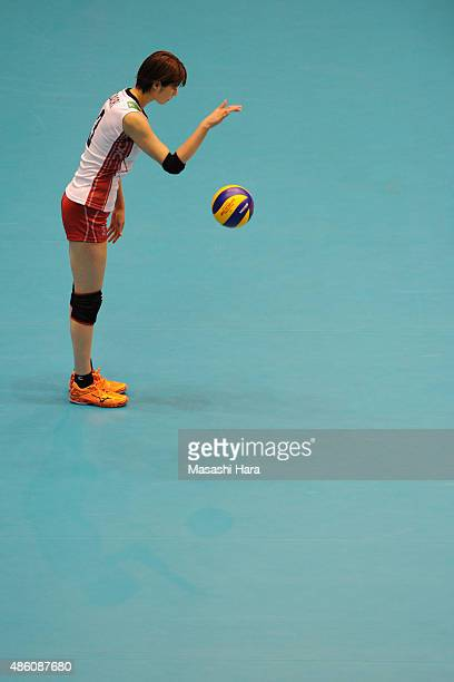 Saori Kimura of japan looks on before serve during the match between Japan and South Korea during the FIVB Women's Volleyball World Cup Japan 2015 at...