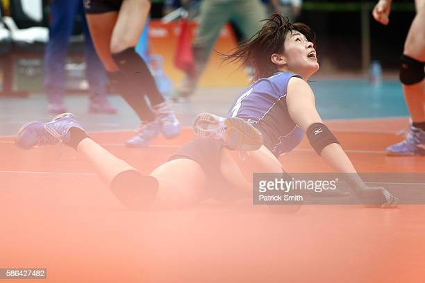 Saori Kimura of Japan looks up after a dig against Korea during the Women's Preliminary Pool A match between Japan and Korea on Day 1 of the Rio de...