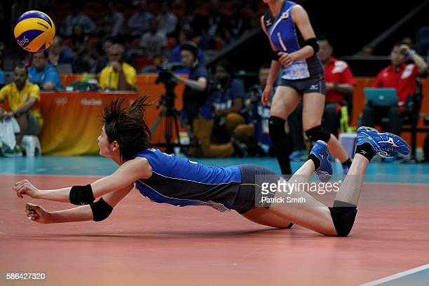 Saori Kimura of Japan plays a shot against Korea during the Women's Preliminary Pool A match between Japan and Korea on Day 1 of the Rio de Janeiro...
