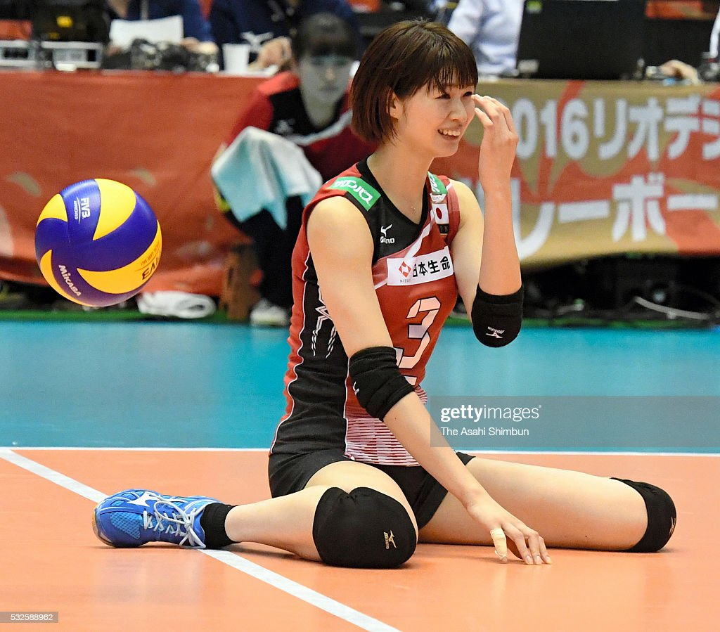 Saori Kimura of Japan reacts after fails to receive the ball during the Women's World Olympic Qualification game between Japan and Thailand at Tokyo Metropolitan Gymnasium on May 18, 2016 in Tokyo, Japan.