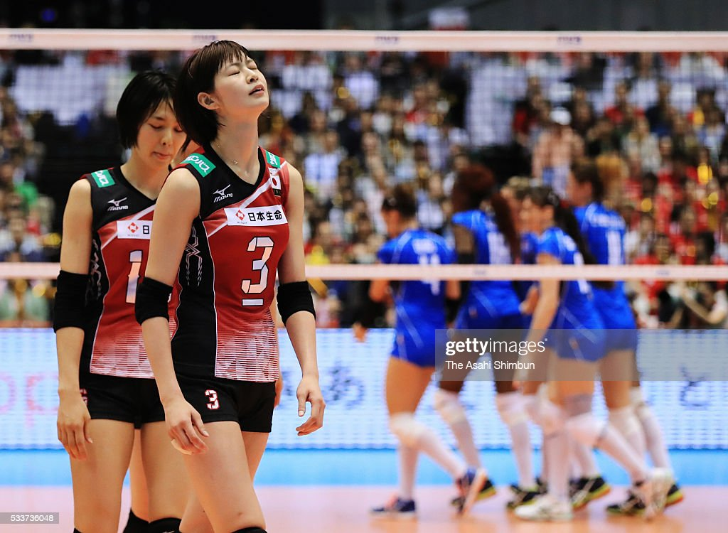 Saori Kimura of Japan reacts after losing the third set during the Women's World Olympic Qualification game between Japan and Italy at Tokyo Metropolitan Gymnasium on May 21, 2016 in Tokyo, Japan.