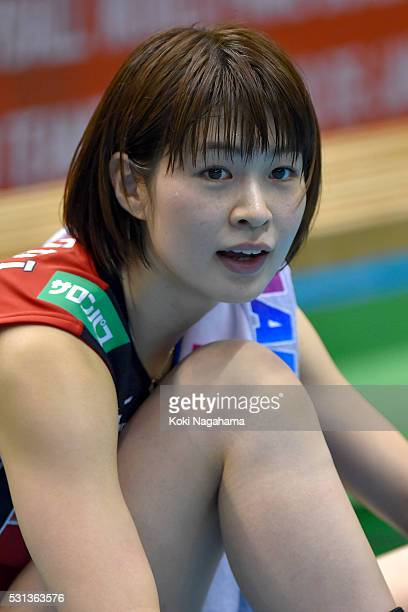Saori Kimura of Japan reacts after winning the Women's World Olympic Qualification game between Japan and Peru at Tokyo Metropolitan Gymnasium on May...