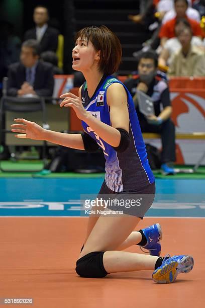 Saori Kimura of Japan reacts during the Women's World Olympic Qualification game between South Korea and Japan at Tokyo Metropolitan Gymnasium on May...