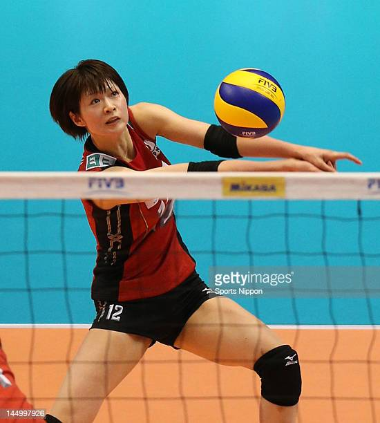 Saori Kimura of Japan receives during the FIVB Women's World Olympic Qualification tournament match between Japan and Peru at Yoyogi Gymnasium on May...