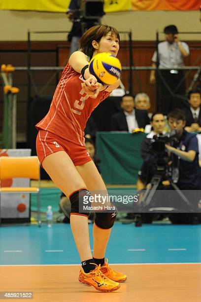 Saori Kimura of Japan receives the ball during in the match between Japan and Peru during the FIVB Women's Volleyball World Cup Japan 2015 at Sendai...