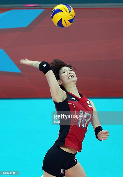 Saori Kimura of Japan returns a shot to Russia during Women's Volleyball on Day 7 of the London 2012 Olympic Games at Earls Court on August 3 2012 in...