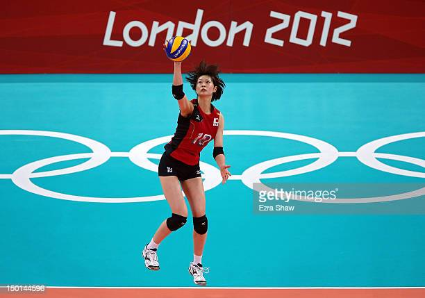 Saori Kimura of Japan serves against Korea during the Women's Volleyball on Day 15 of the London 2012 Olympic Games at Earls Court on August 11 2012...