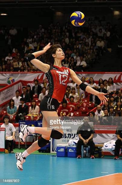 Saori Kimura of Japan serves during the FIVB Women's World Olympic Qualification tournament match between Japan and Peru at Yoyogi Gymnasium on May...