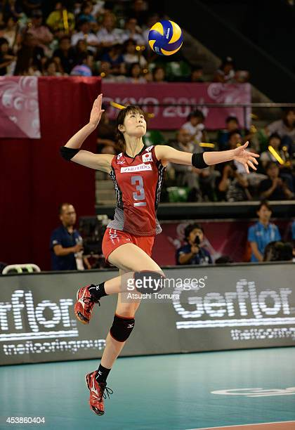 Saori Kimura of Japan serves the ball against Russia during the FIVB World Grand Prix Final Group 1 on August 20 2014 in Tokyo Japan