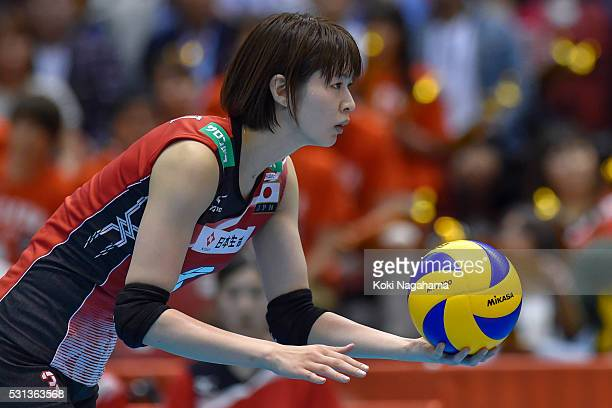 Saori Kimura of Japan serves the ball during the Women's World Olympic Qualification game between Japan and Peru at Tokyo Metropolitan Gymnasium on...