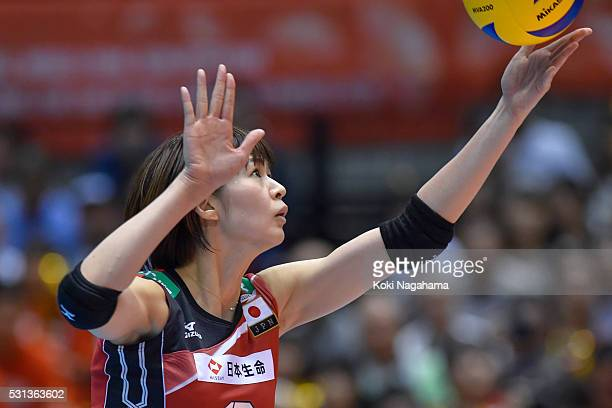 Saori Kimura of Japan serves the ball during the Women's World Olympic Qualification game between Japan and Peru at Tokyo Metropolitan Gymnasium on...