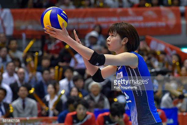 Saori Kimura of Japan serves the ball during the Women's World Olympic Qualification game between South Korea and Japan at Tokyo Metropolitan...