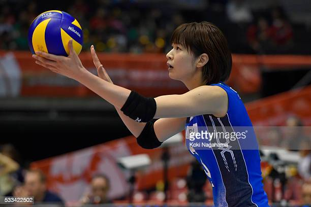 Saori Kimura of Japan serves the ball during the Women's World Olympic Qualification game between Netherlands and Japan at Tokyo Metropolitan...