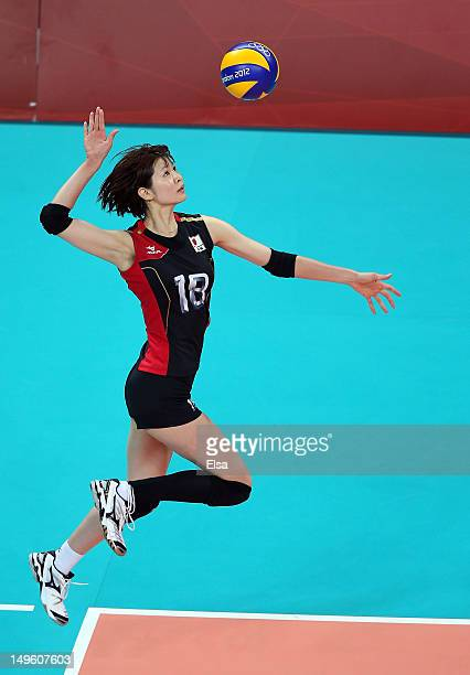 Saori Kimura of Japan serves the ball in the third set against the Dominican Republic during Women's Volleyball on Day 5 of the London 2012 Olympic...