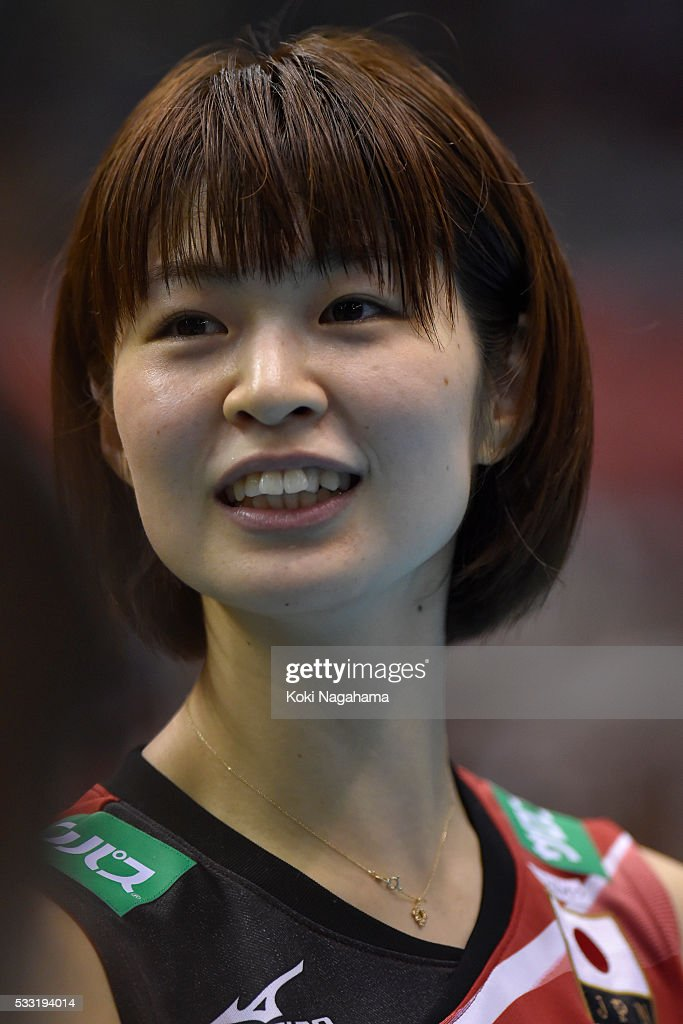 Saori Kimura #3 of Japan smiles after getting their team's qualification for the Rio de Janeiro Olympic in the Women's World Olympic Qualification game between Japan and Italy at Tokyo Metropolitan Gymnasium on May 21, 2016 in Tokyo, Japan.