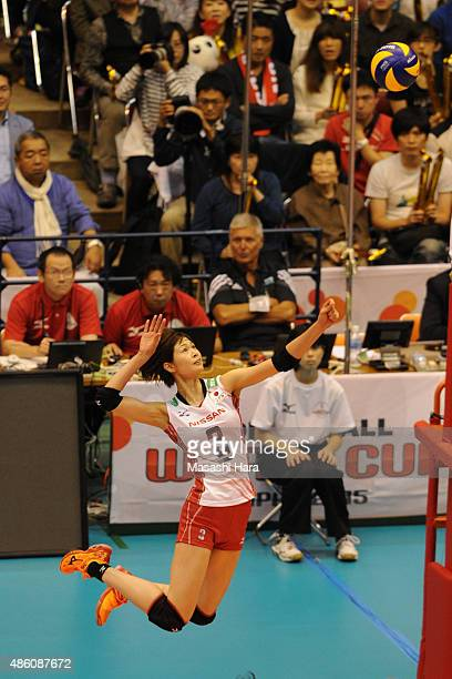 Saori Kimura of japan spikes during the match between Japan and South Korea during the FIVB Women's Volleyball World Cup Japan 2015 at Sendai City...