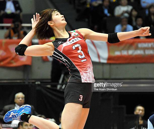 Saori Kimura of Japan spikes the ball during the Women's World Olympic Qualification game between Japan and Thailand at Tokyo Metropolitan Gymnasium...