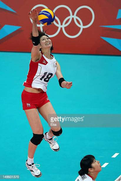 Saori Kimura of Japan spikes the ball in the first set against China during Women's Volleyball on Day 11 of the London 2012 Olympic Games at Earls...