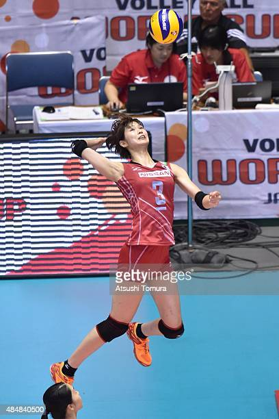 Saori Kimura of Japan spikes the ball in the match between Argentina and Japan during the FIVB Women's Volleyball World Cup Japan 2015 at Yoyogi...