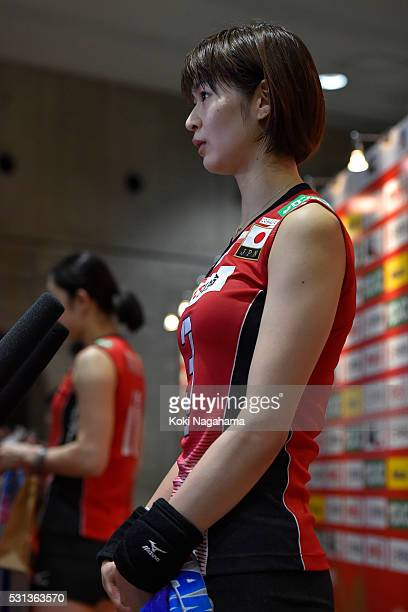 Saori Kimura of Japan talks to the media in the mixed zone after winning the Women's World Olympic Qualification game between Japan and Peru at Tokyo...