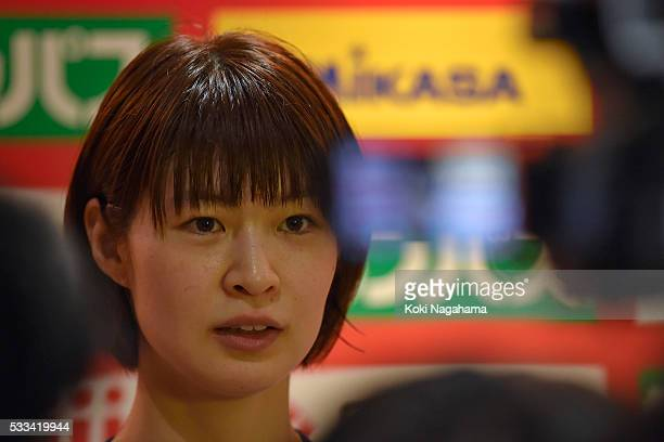 Saori Kimura of Japan talks to the media in the mixed zone after winning the Women's World Olympic Qualification game between Netherlands and Japan...
