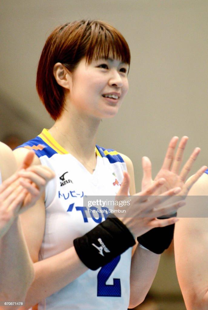 Saori Kimura of Toray Arrows reacts after the V-Premier League Women's Final 6 between NEC Red Rockets and Toray Arrows at Yokohama Cultural Gymnasium on March 5, 2017 in Yokohama, Kanagawa, Japan.