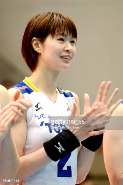 Saori Kimura of Toray Arrows reacts after the VPremier League Women's Final 6 between NEC Red Rockets and Toray Arrows at Yokohama Cultural Gymnasium...