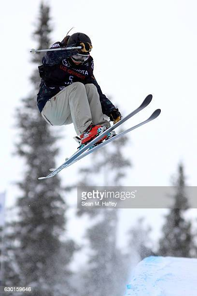 Saori Suzuki of Japan competes in the final round of the FIS Freestyle Ski World Cup 2017 Ladies' Ski Halfpipe during The Toyota US Grand Prix at...