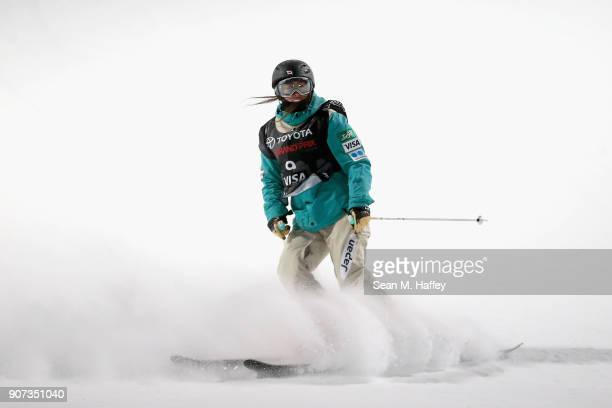 Saori Suzuki of Japan reacts after her final run in the final round of the FIS Freeski World Cup 2018 Ladies' Ski Halfpipe during the Toyota US Grand...